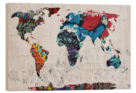 Wood print  map graffiti - Mark Ashkenazi