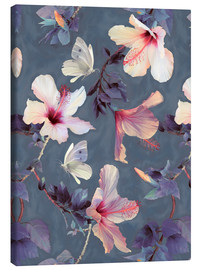 Canvas print  Butterflies and Hibiscus Flowers - a painted pattern - Micklyn Le Feuvre