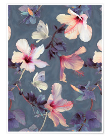 Premium poster  Butterflies and Hibiscus Flowers - a painted pattern - Micklyn Le Feuvre
