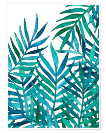 Premium poster Turquoise palm leaves on white