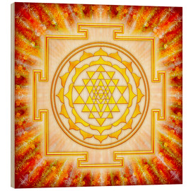 Wood print  Sri Yantra - artwork light - Dirk Czarnota