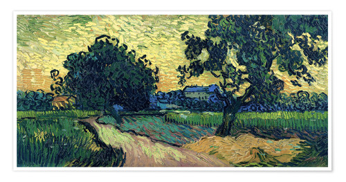 Premium poster Field with Trees, the Chateau of Auvers