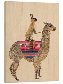 Wood print  Alpaca with hare - GreenNest