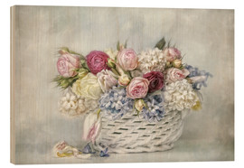 Wood print  a basket full of spring - Lizzy Pe