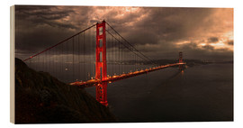 Wood print  Golden Gate mystical brown - Michael Rucker