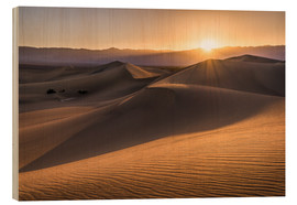 Wood print  Sunset at the Dunes in Death Valley - Andreas Wonisch