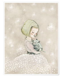 Poster  Little girl with kitten - Paola Zakimi