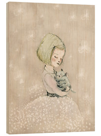 Wood print  Little girl with kitten - Paola Zakimi