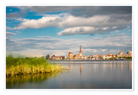 Premium poster  View over the river Warnow to Rostock (Germany) - Rico Ködder