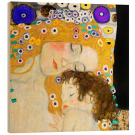 Wood print  Mother with child - Gustav Klimt