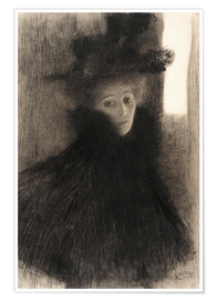 Premium poster Portrait of a Lady with Cape and Hat