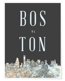 Premium poster  Boston Skyline Map - Amelia Gier