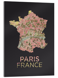 Acrylic print  Paris France Map Silhouette - Amelia Gier