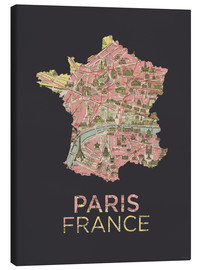 Canvas print  Paris France Map Silhouette - Amelia Gier