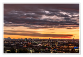 Premium poster Sunset over Munich (Bavaria)