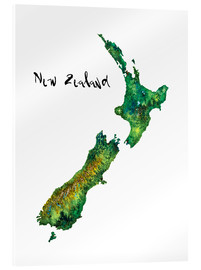 Acrylic print  Map of New Zealand in watercolour - Ricardo Bouman