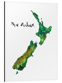 Aluminium print  Map of New Zealand in watercolour - Ricardo Bouman
