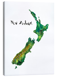Canvas  Map of New Zealand in Watercolour - Ricardo Bouman