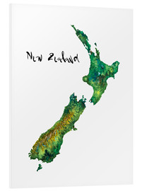 Foam board print  Map of New Zealand in watercolour - Ricardo Bouman