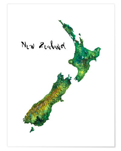 Premium poster Map of New Zealand in watercolour