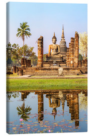 Canvas print  Wat Mahathat buddhist temple reflected in pond, Sukhothai, Thailand - Matteo Colombo