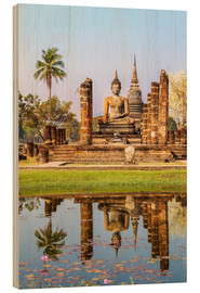 Wood print  Wat Mahathat buddhist temple reflected in pond, Sukhothai, Thailand - Matteo Colombo