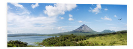 Foam board print  Panoramic of Arenal volcano and lake, Costa Rica - Matteo Colombo