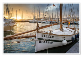 Premium poster Historic sailboat in the port of Palma de Mallorca