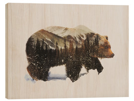 Wood print  Arctic grizzly bear - Andreas Lie