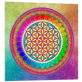 Foam board print  Flower of Life, Rainbow Lotus Artwork I - Dirk Czarnota
