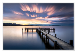 Premium poster Sunset at Chiemsee