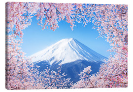 Canvas  Mount Fuji in Japan during the cherry blossom in spring - Jan Christopher Becke