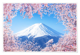 Premium poster  Mount Fuji in Japan during the cherry blossom in spring - Jan Christopher Becke