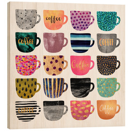 Wood print  Pretty coffee cups - Elisabeth Fredriksson
