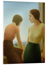 Acrylic glass  Two girls at the window - Georg Schrimpf