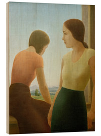 Wood print  Two girls at the window - Georg Schrimpf