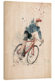Wood print  I want to ride my bicycle - Balazs Solti