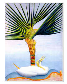 Premium poster palm tree and bird
