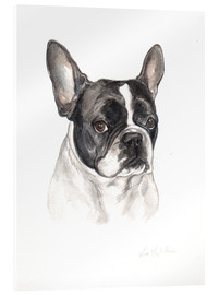 Acrylic print  French bulldog, black-white - Lisa May Painting