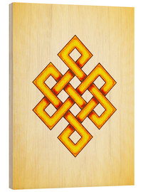 Wood print  Endless Knot - Artwork Yellow - Dirk Czarnota