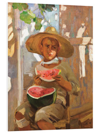 Foam board print  Boy with watermelon - Joaquín Sorolla y Bastida