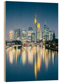 Wood print  Frankfurt skyline reflected in river Main at night, Germany - Matteo Colombo