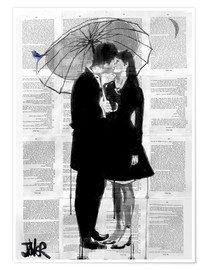 Premium poster  a little bird, a little moon and a little love - Loui Jover