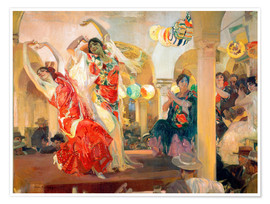Premium poster  Flamenco in the cafe Novedades - Joaquín Sorolla y Bastida