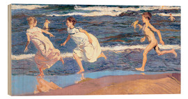 Wood print  Running Along the Beach - Joaquin Sorolla y Bastida