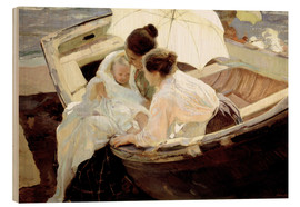 Wood print  After the bath in the sea - Joaquín Sorolla y Bastida