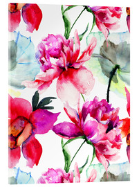 Acrylic glass  Poppies and peonies
