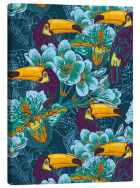 Canvas print  Tropical flowers with toucan