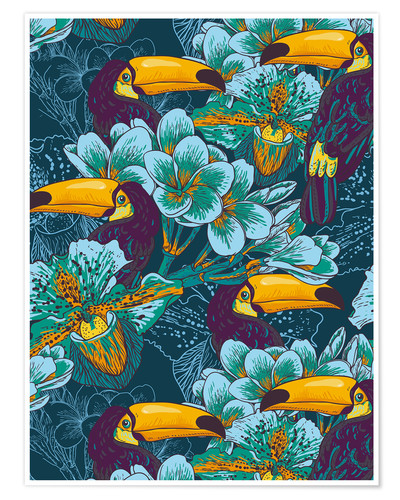 Premium poster Tropical flowers with toucan