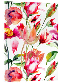 Acrylic print  Summer flowers in watercolor